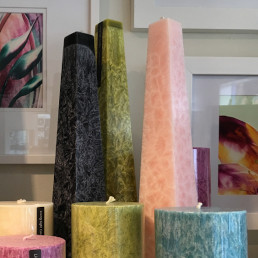Browse our candles in a range of shapes, colours and scents
